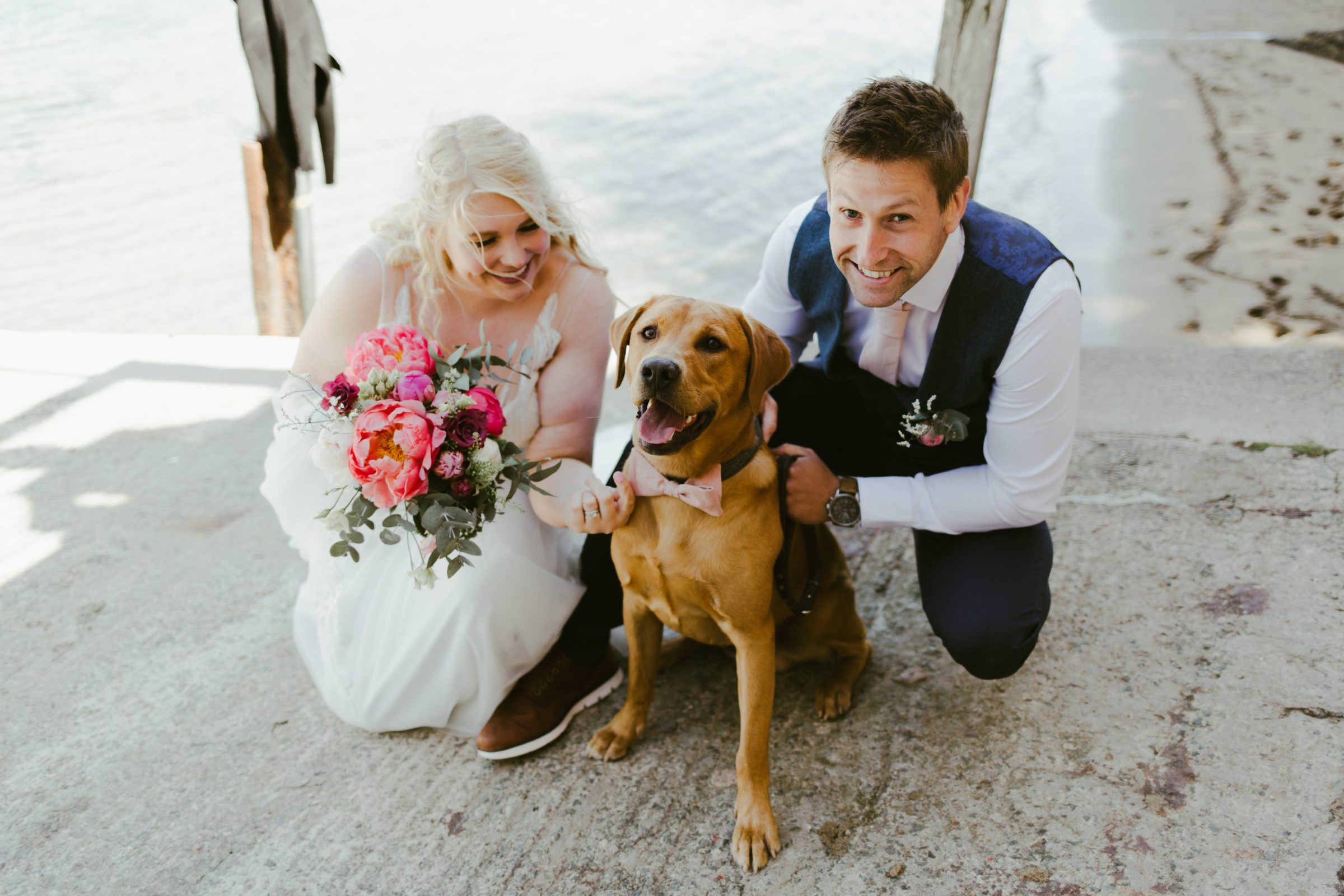 wedding-salcombe-port-waterhouse-venue-bride-groom-dog
