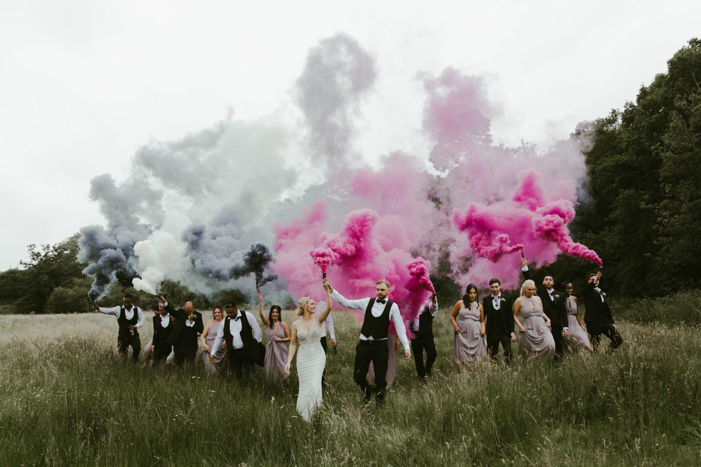 millbridge-court-wedding-venue-frensham-farnham-surrey-uk-photography-photographer-bridal-party-smoke-bombs-flares-fun