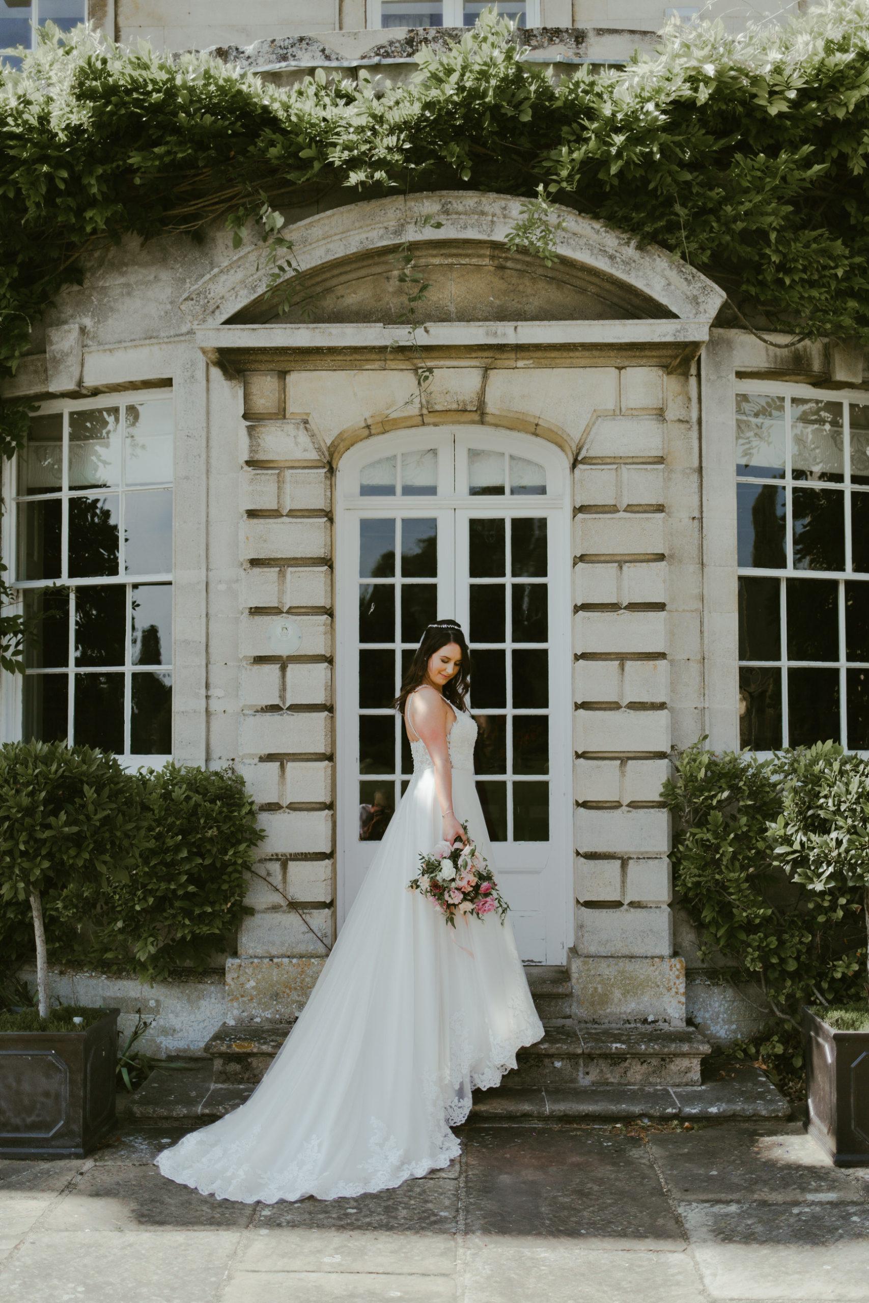 summer back garden wedding bride and groom photos