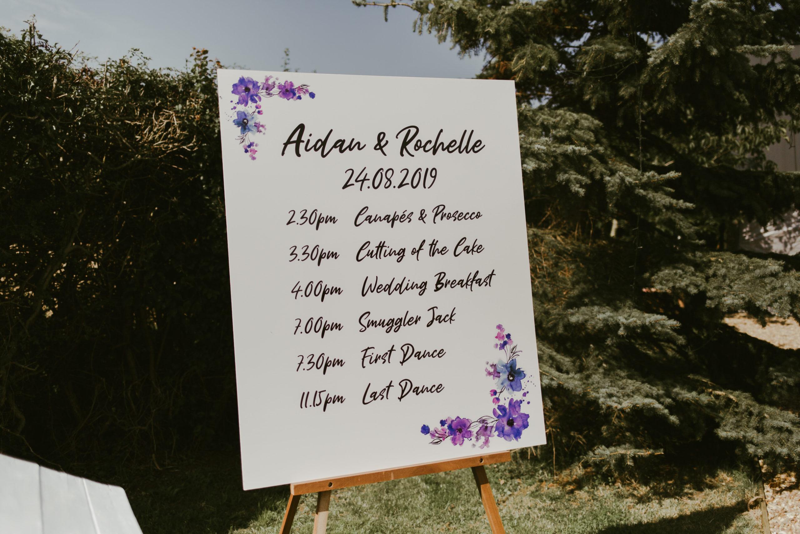 summer back garden wedding drinks reception stationery plan