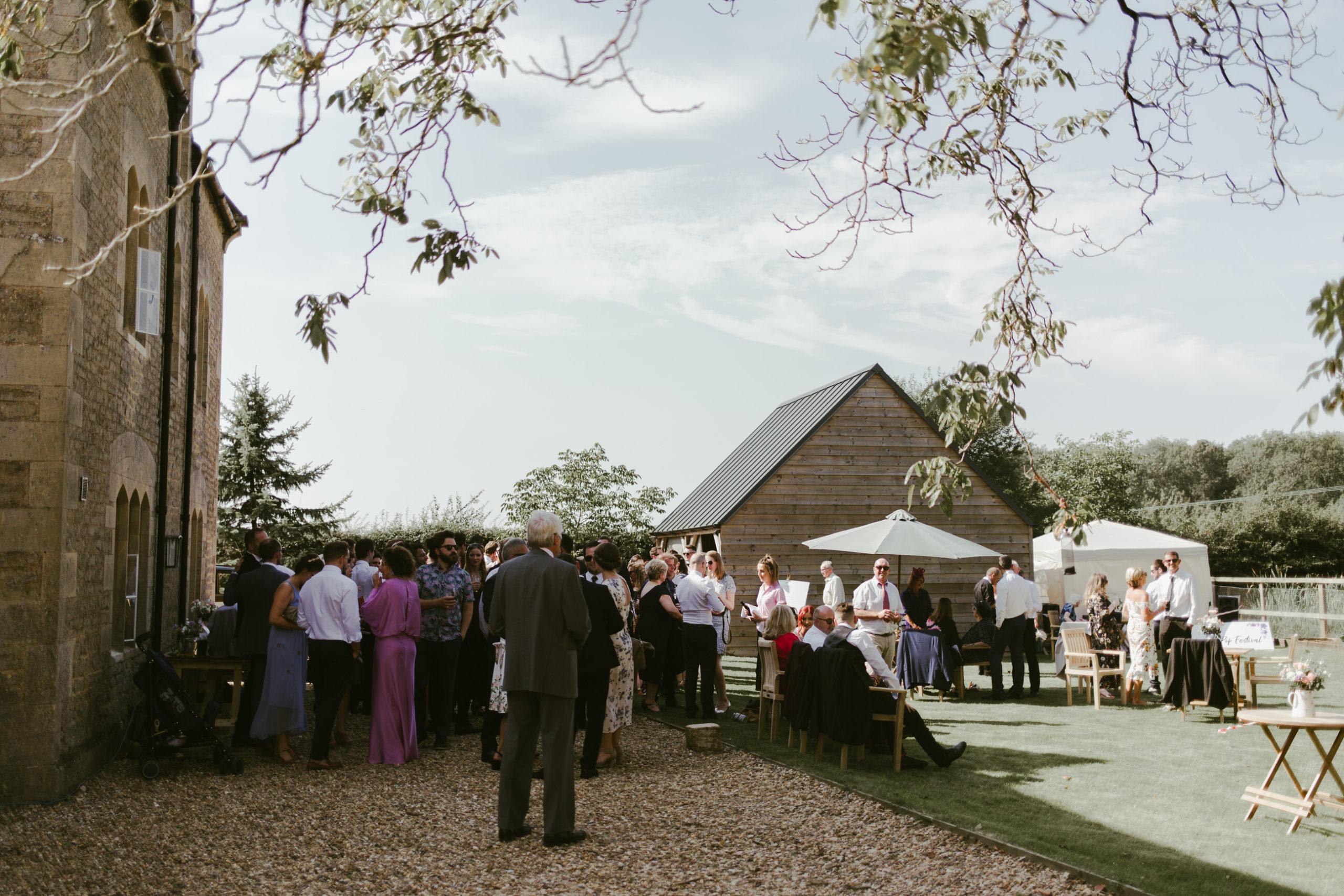 summer back garden wedding drinks reception