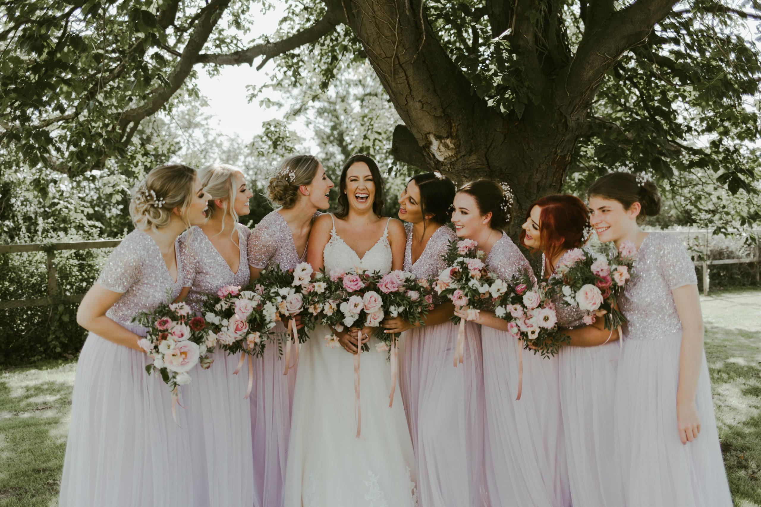 summer back garden wedding marquee bridal party group photos bridesmaids