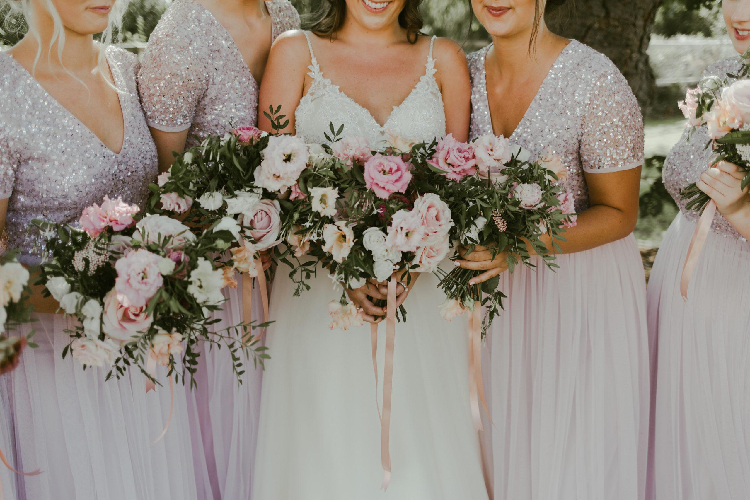 summer back garden wedding marquee bridal party group photos