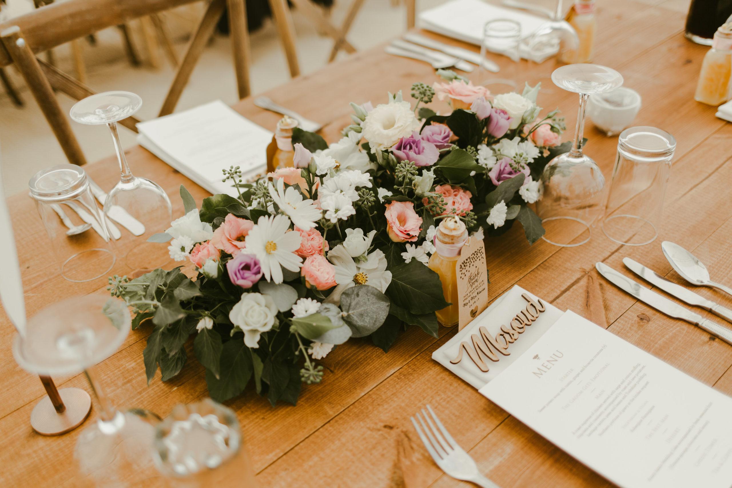 summer back garden wedding marquee details