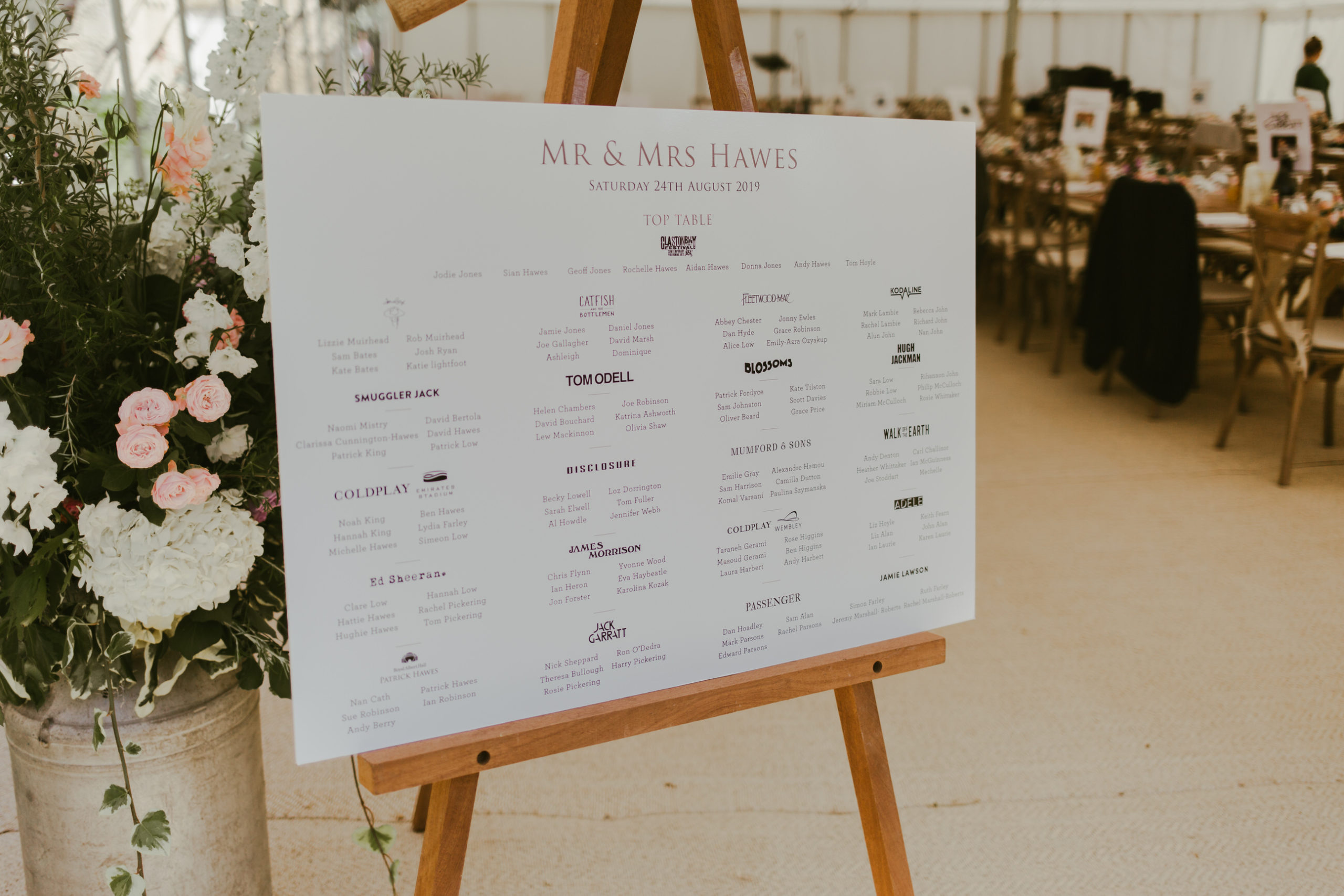 back garden summer marquee wedding table plan stationery