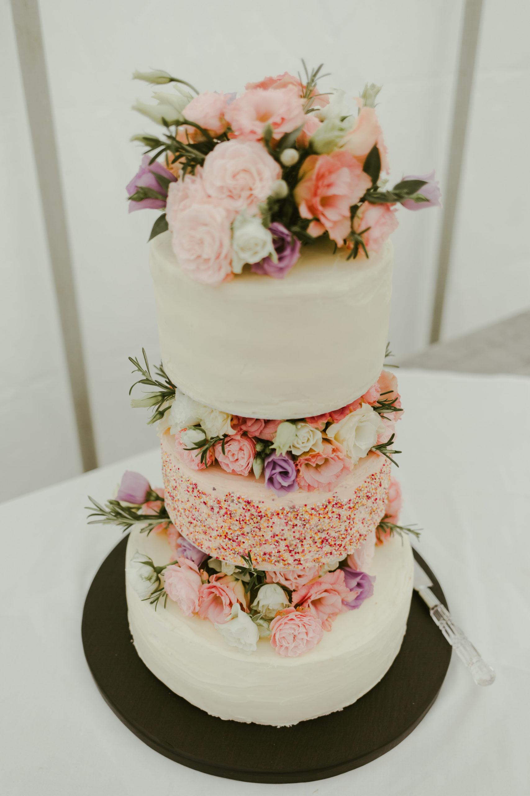 wedding cake summer wedding back garden marquee