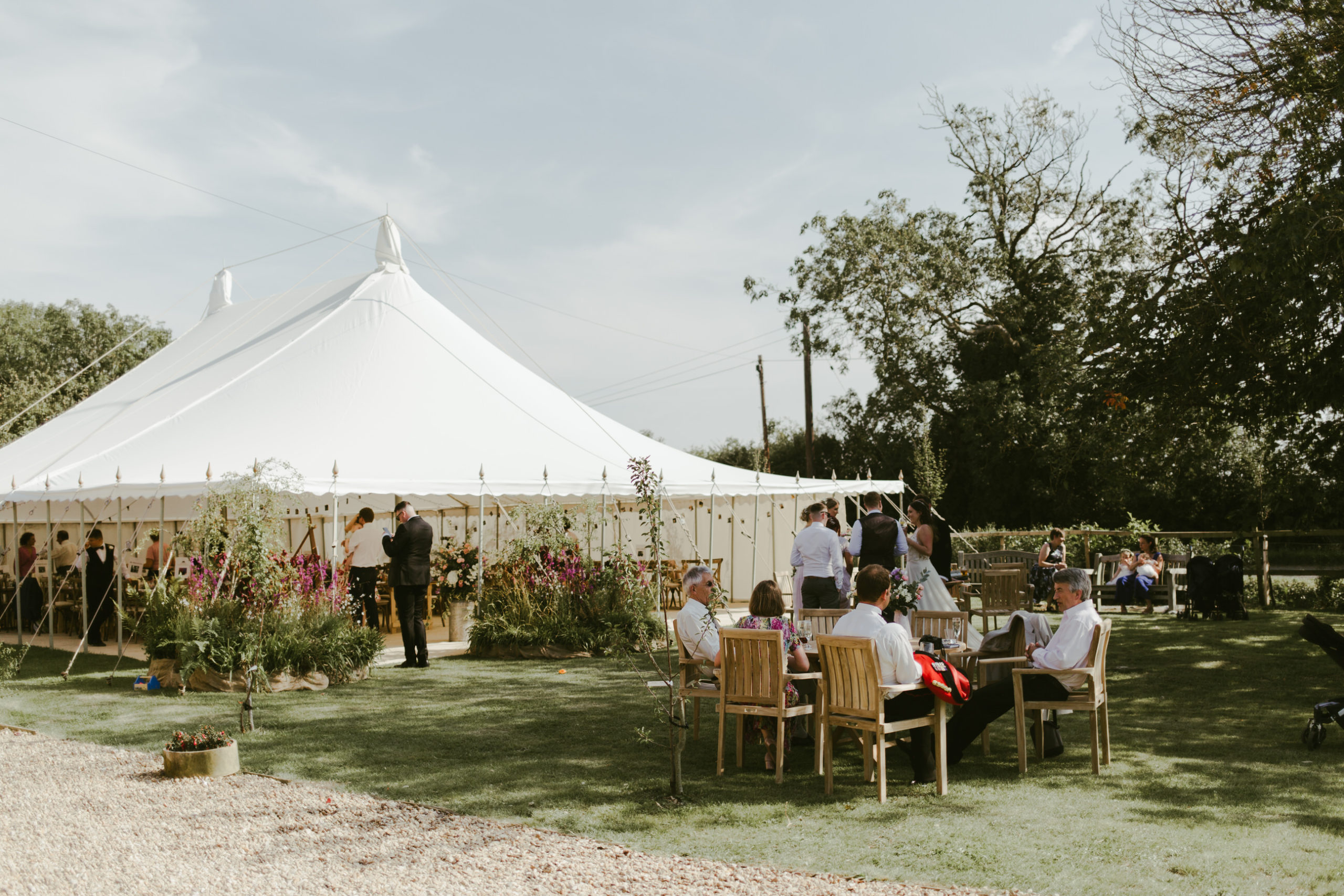 summer wedding back garden party marquee