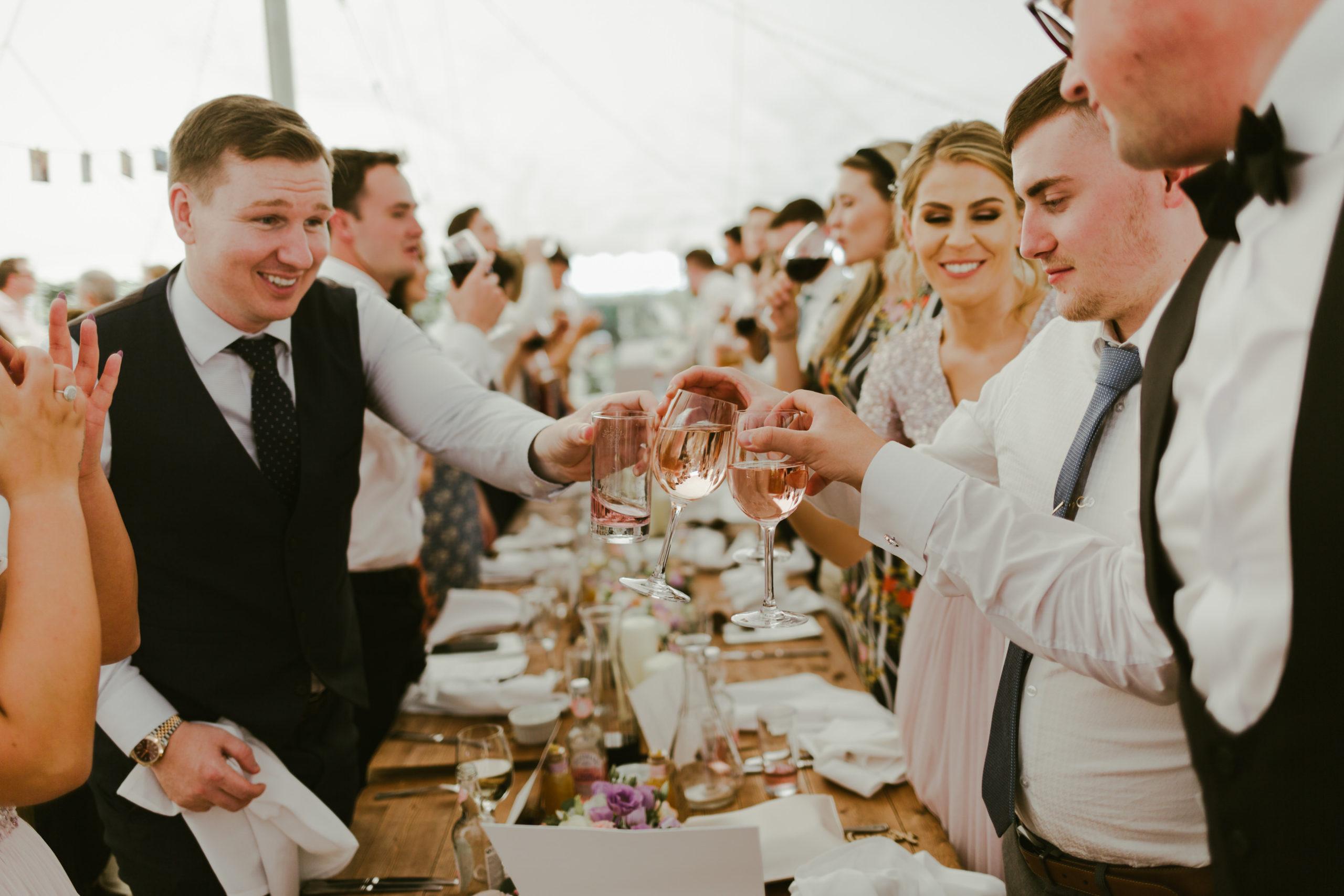 summer wedding back garden party marquee speeches toast