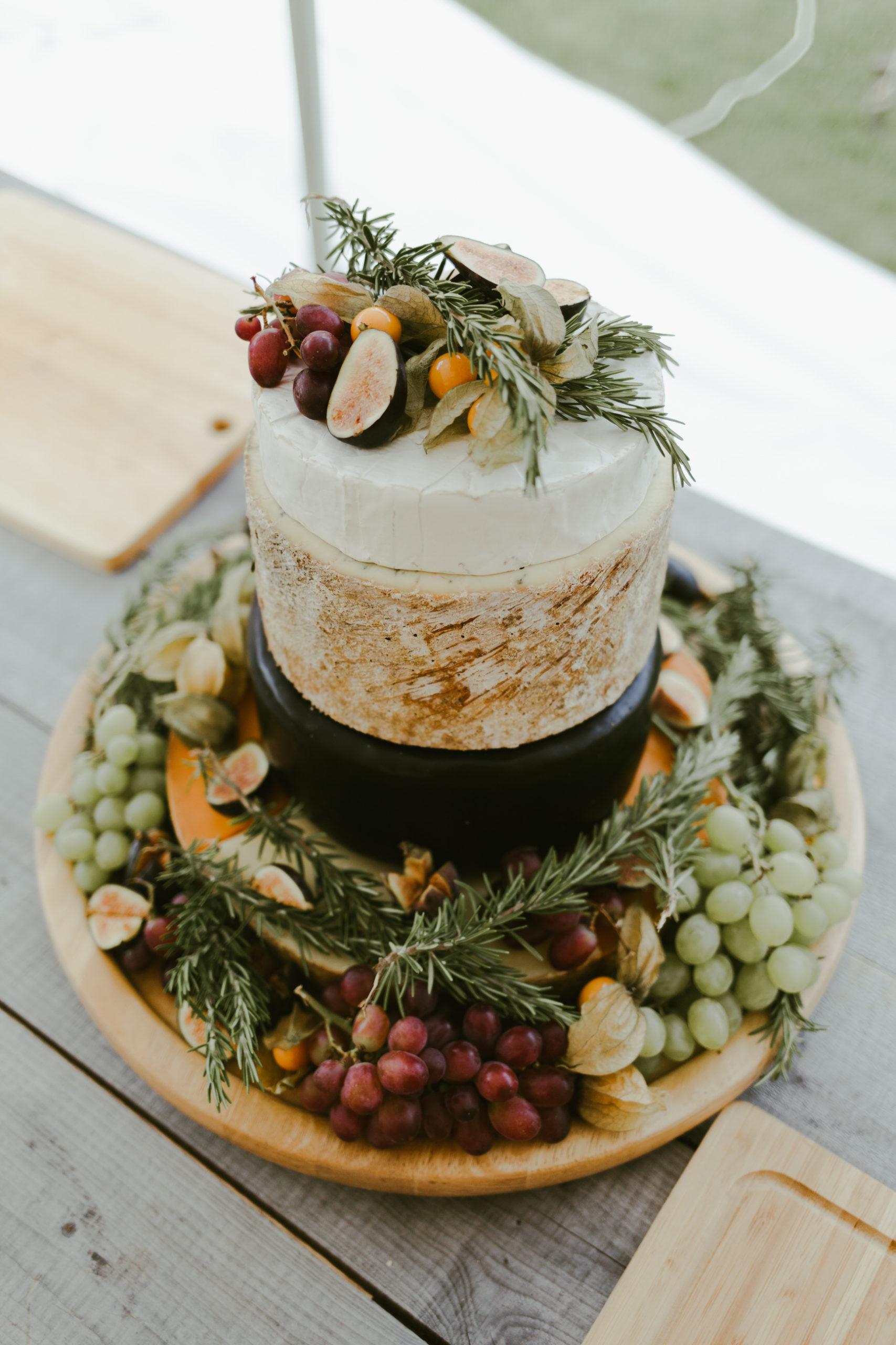 back garden marquee DIY wedding cheese cake