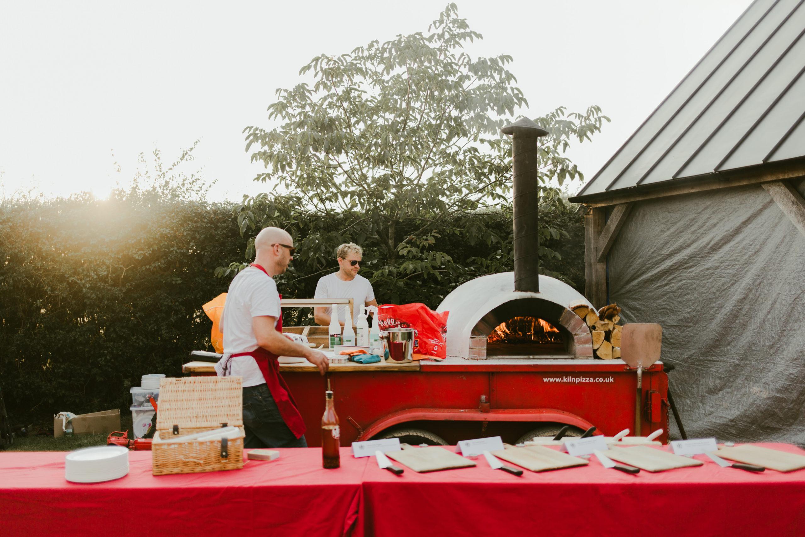 summer back garden wedding pizza oven
