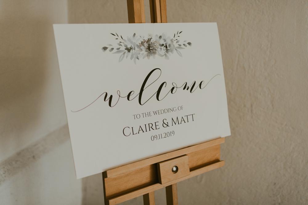 farnham castle wedding details stationery welcome sign