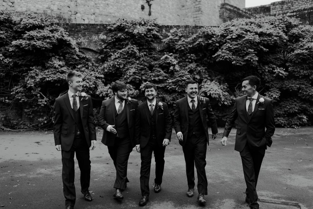 farnham castle weddings groom and groomsmen prep