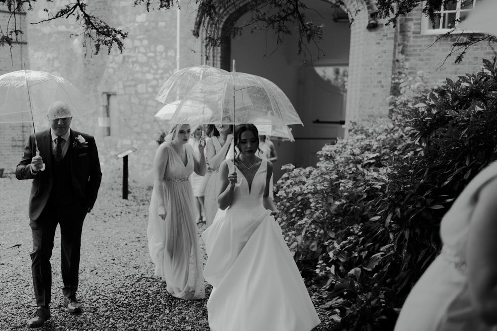 farnham castle bride leaving the gatehouse to the ceremony