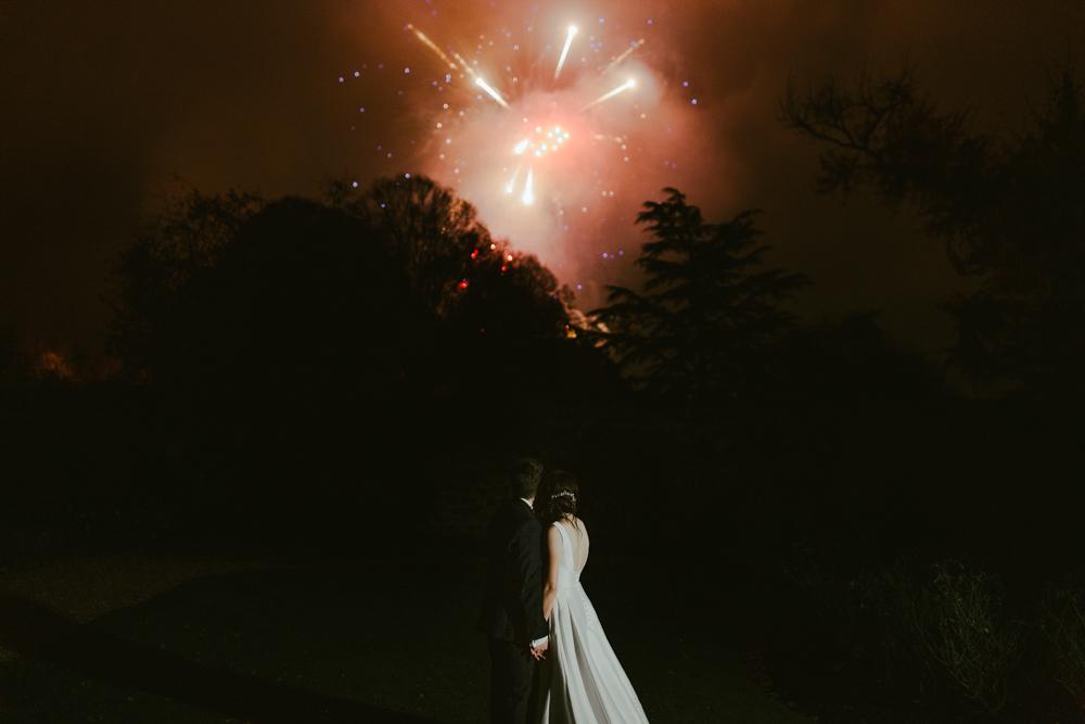 firework display at farnham castle wedding