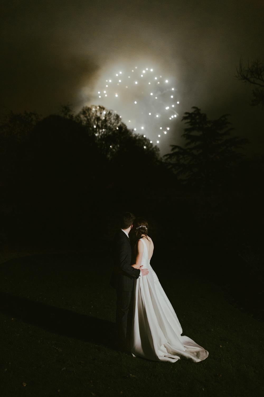 firework display for a wedding at farnham castle