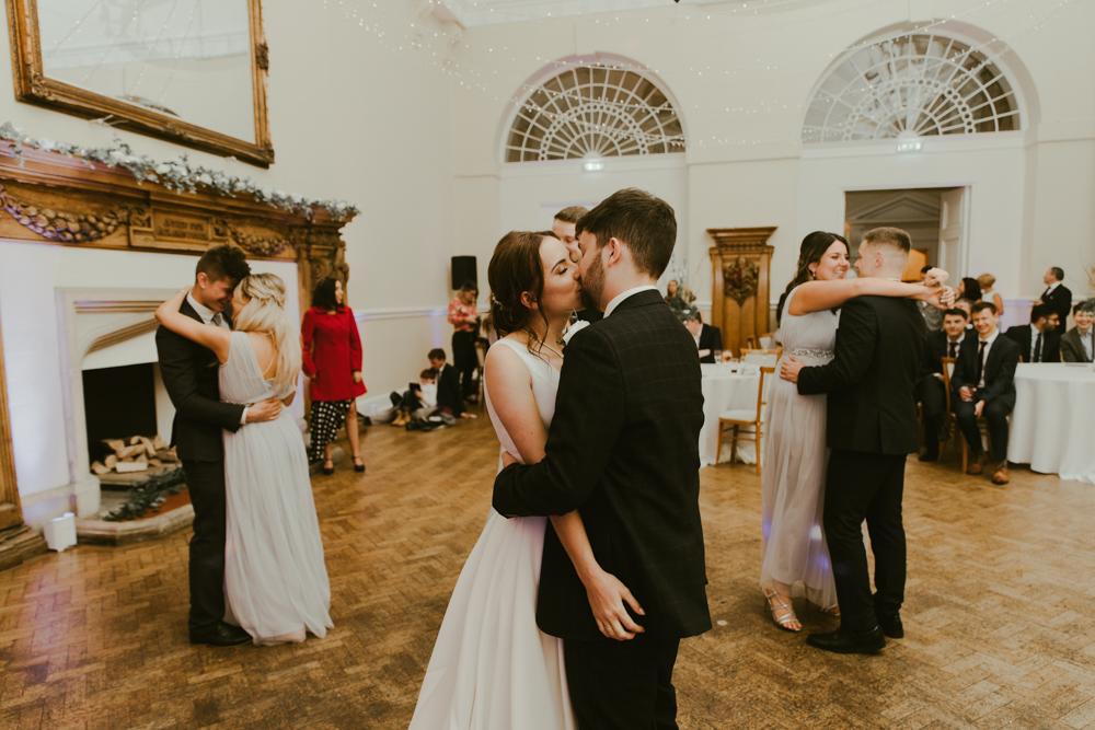 wedding party first dance at Farnham castle in Surrey
